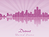 Detroit skyline in purple radiant orchid