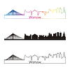 Skyline von Warschau linearen Stil mit Regenbogen