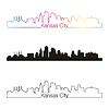 Kansas City Skyline linearen Stil mit Regenbogen