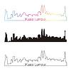 Kuala Lumpur skyline linear style with rainbow