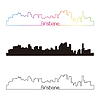 Brisbane skyline liniowy styl z rainbow | Stock Vector Graphics