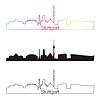 Штутгарт горизонт линейном стиле с радугой | Векторный клипарт