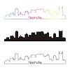 Nashville Skyline linearen Stil mit Regenbogen