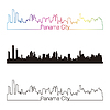 Panama City skyline linear style with rainbow | Stock Vector Graphics