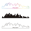 Houston skyline linear style with rainbow | Stock Vector Graphics