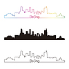 Beijing skyline linear style with rainbow | Stock Vector Graphics