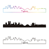 Tallinn Skyline linearen Stil mit Regenbogen