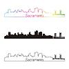Sacramento Skyline linearen Stil mit Regenbogen
