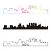 Atlanta Skyline linearen Stil mit Regenbogen