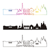 Petersburg skyline liniowy styl z rainbow | Stock Vector Graphics