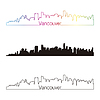 Vancouver skyline liniowy styl z rainbow | Stock Vector Graphics