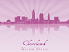 Cleveland Skyline in lila Orchidee strahl
