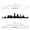 Cleveland Skyline linearen Stil mit Regenbogen