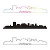 Richmond Skyline linearen Stil mit Regenbogen