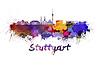 Stuttgart skyline in watercolor | Stock Illustration