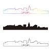 Lincoln Skyline linearen Stil mit Regenbogen