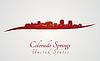 Векторный клипарт: Колорадо-Спрингс горизонт в красный