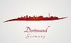 Векторный клипарт: Дортмунд горизонт в красный