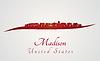 Векторный клипарт: Мэдисон горизонт в красный