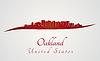 Векторный клипарт: Окленд горизонт в красный