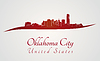 Oklahoma City Skyline in rot
