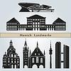 Векторный клипарт: Ориентиры Мюнхен и памятники