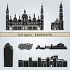 Векторный клипарт: Ориентиры Сарагоса и памятники