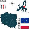 Karte von Polen mit der Europäischen Union