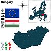 Karte von Ungarn mit der Europäischen Union