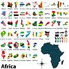 Karten mit Fahnen von Afrika