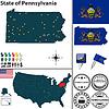 Karte des Staates Pennsylvania, USA