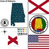 Karte des Staates Alabama, USA