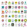 großes Set von floral Logos