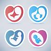 Familie und Elternschaft abstrakte Symbole | Stock Vektrografik