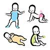 Fröhlich aktiv Baby Symbole Sammlung | Stock Vektrografik