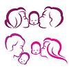 glückliche Familie Silhouette, Symbole Sammlung