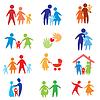 Glückliche Familie Symbole, Symbole Sammlung | Stock Vektrografik