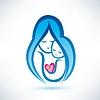 Мать и ребенок символ, концепция любви | Векторный клипарт