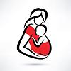 Matka trzyma dziecko w chuście, symbol | Stock Vector Graphics