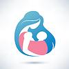 Mutter mit Baby im Tragetuch, Symbol | Stock Vektrografik