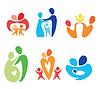 Happy family icons set | Stock Vector Graphics