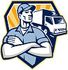 Möbelpacker Umzugsauto Crest Retro | Stock Vektrografik