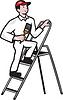 房子画家站在梯子卡通 | 光栅插图