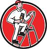 房子画家画笔上的梯子卡通 | 光栅插图