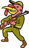 ID 4131923 | Turkey Hunter Carry Rifle Shotgun Cartoon | Stockowa ilustracja wysokiej rozdzielczości | KLIPARTO