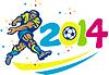 Brasilien 2014 Fußball-Fußball-Spieler Retro