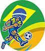 Brasilien-Fußball-Fußball-Spieler treten Ball Retro