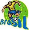 Brasilien-Fußball-Spieler, der Kugel Retro