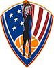 Amerikanische Basketball-Spieler-Dunk-Ball Schild Retro