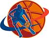 농구 선수 드리블 공을 woodcut 복고 | Stock Vector Graphics